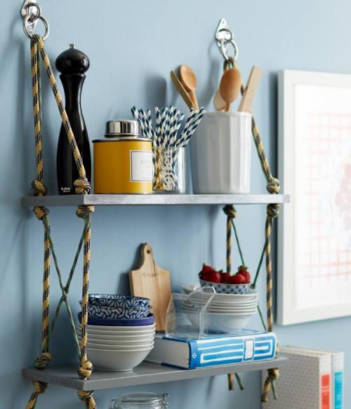Ideas para cocinas rústicas una estantería reciclada 1
