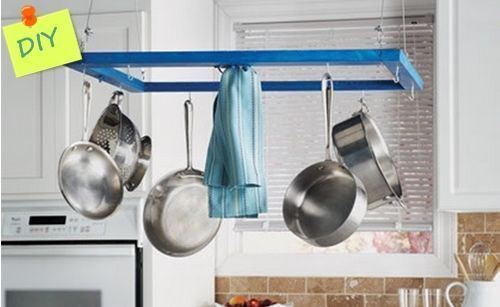 Idea de reciclaje colgador de utensilios para cocinas con isla 1
