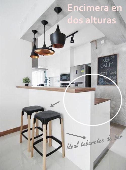 Barras de cocina qu altura es la correcta cocinas for Barra auxiliar para cocina