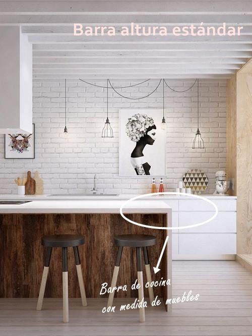 Barras de cocina qu altura es la correcta cocinas for Medidas estandar de modulos de cocina