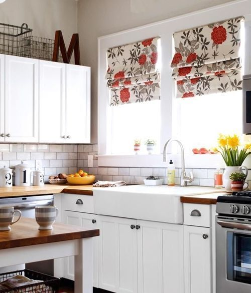 Cocinas r sticas mejor cortinas o estores cocinas con for Cortinas modernas para puertas de cocina