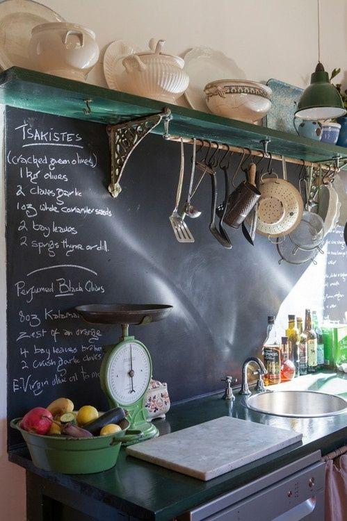 Cocinas vintage con pintura de pizarra 1
