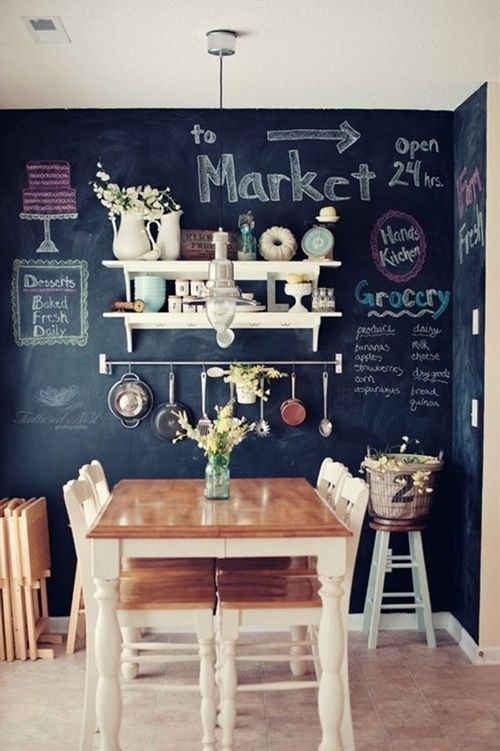 Cocinas vintage con pintura de pizarra cocinas con encanto - Paredes pintadas originales ...