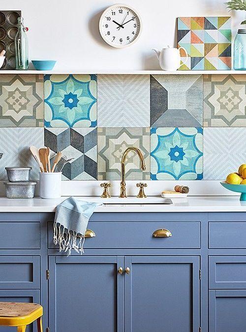 Baldosas hidr ulicas para frentes de cocina vintage son - Modelos de azulejos para cocina ...